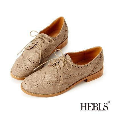 HERLS-內真皮低調亮面蜥蝪紋牛津鞋-灰色