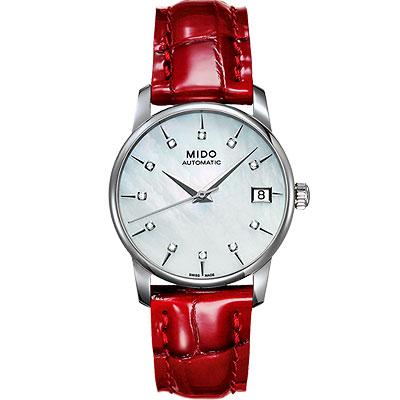 MIDO 鑽石名媛機械皮帶女錶-紅/33mm