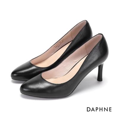 達芙妮DAPHNE 高跟鞋-經典基本款真皮素面高跟鞋-黑