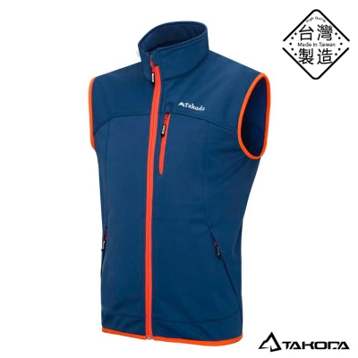 TAKODA 男款鈦紗熱循環防風透氣防潑水高彈性保暖背心(新鐵藍色)
