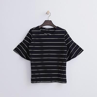 Hang Ten - 女裝 - 條紋荷葉袖T恤-黑色