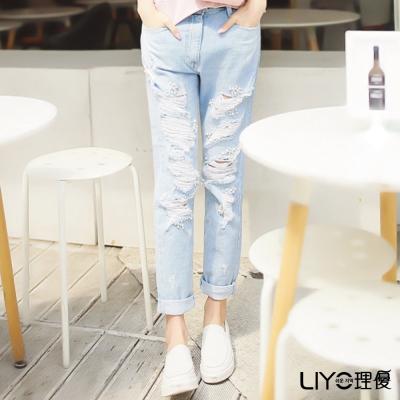 LIYO理優刷破釘珠牛仔褲(藍)