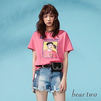 beartwo 街頭LOOK英文表情印花T恤(二色)