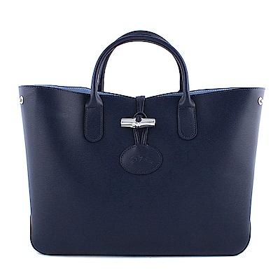 Longchamp ROSEAU 系列防刮牛皮撞色竹節釦飾托特包(深藍色)