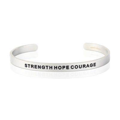 MANTRABAND Strength Hope Courage 寬版銀色手環 男款