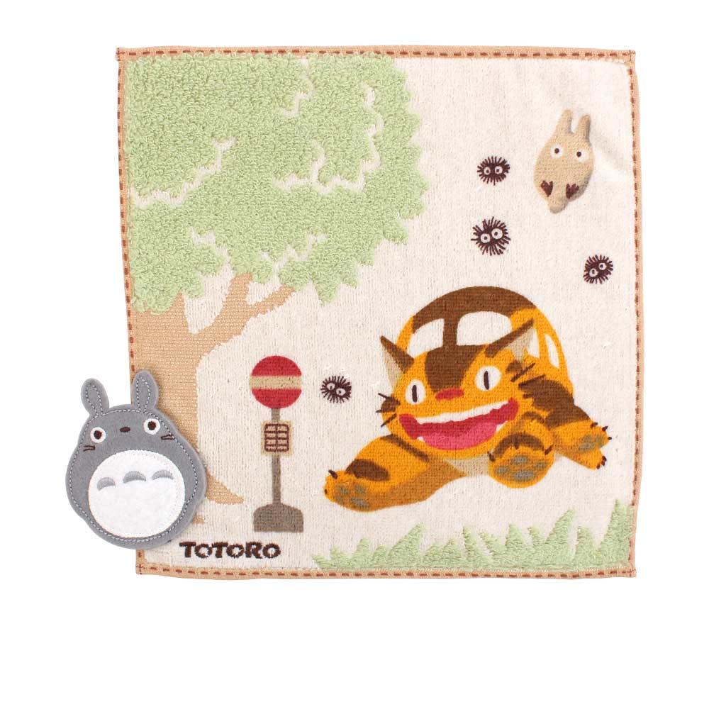 吉卜力 Totoro龍貓純棉小方巾/手帕(貓巴士)