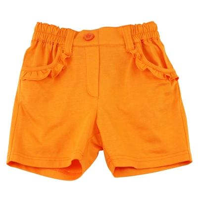 愛的世界 MYBABY 純棉半鬆緊帶荷葉邊口袋短褲-橘/ 4 ~ 8 歲
