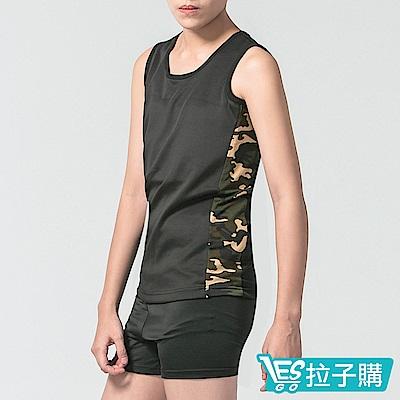 束胸 迷彩拼色無袖套頭泳衣褲組 黑(S-XXL) LESGO
