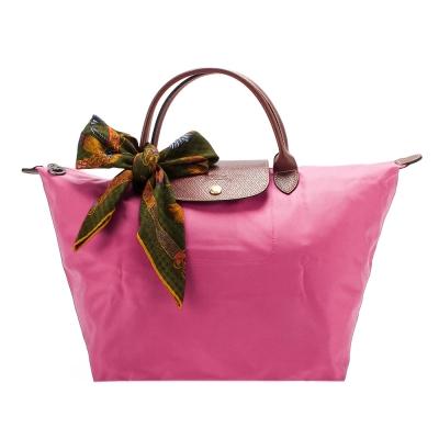 Longchamp 折疊中型水餃包(短提把/山茶紅)-加贈帕巾