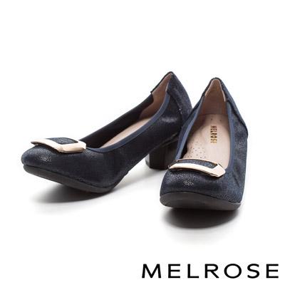 MELROSE-金屬方型飾釦布紋牛皮粗跟鞋-藍