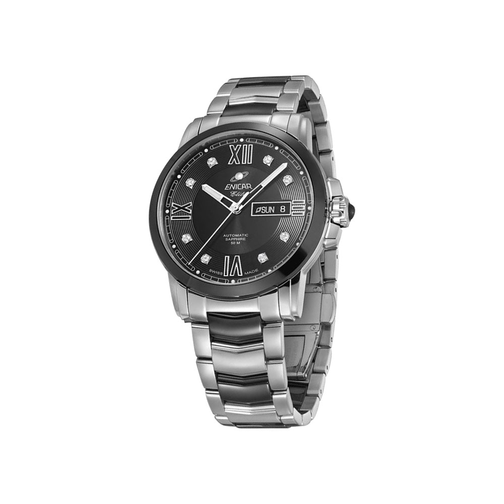 ENICAR 英納格 CH 350 精英系列自動鍊帶男錶-黑x銀/41mm
