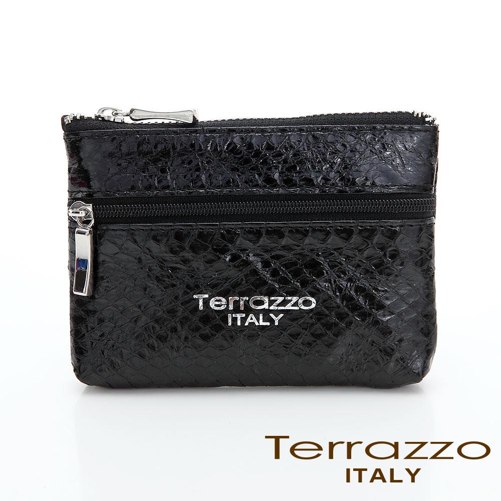 義大利Terrazzo - 時尚蛇皮雙層零錢鑰匙包-黑色73S1997A