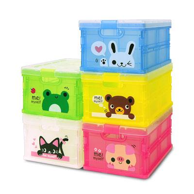 ★3公升加塑膠蓋★ 迷你版果凍色_輕巧折疊收納箱_5入組 (五色各一)
