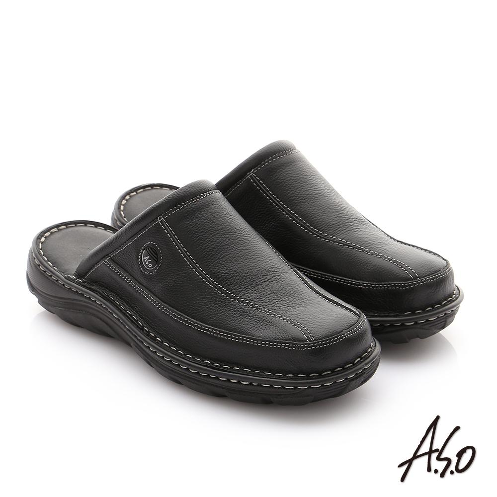 A.S.O 抗震雙核心 摔花牛皮紳士休閒張菲鞋 黑色