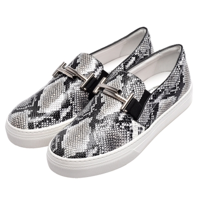 TOD S經典Double T銀色金屬LOGO蟒蛇紋牛皮厚底樂福鞋