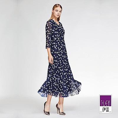 ILEY伊蕾 花朵印花層次剪接彈性長版洋裝(藍)