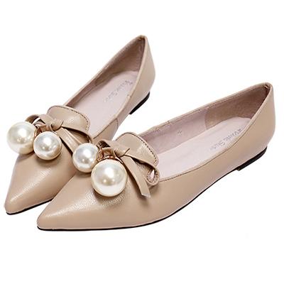 Robinlo Studio 氣質女伶珍珠羊皮平底鞋 杏