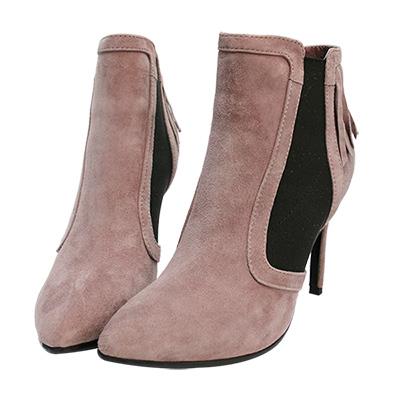 Robinlo Studio 歐美時尚流蘇麂皮高跟踝靴 芋紫