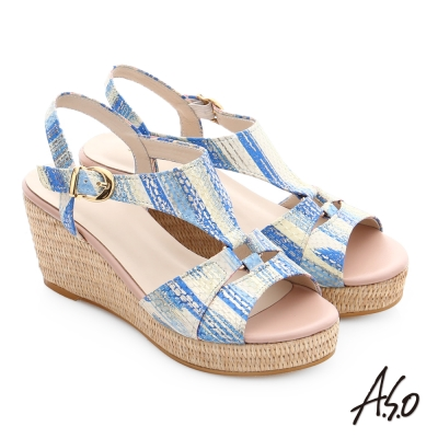 A.S.O 嬉皮假期 真皮獨特紋路楔型涼鞋 淺藍色