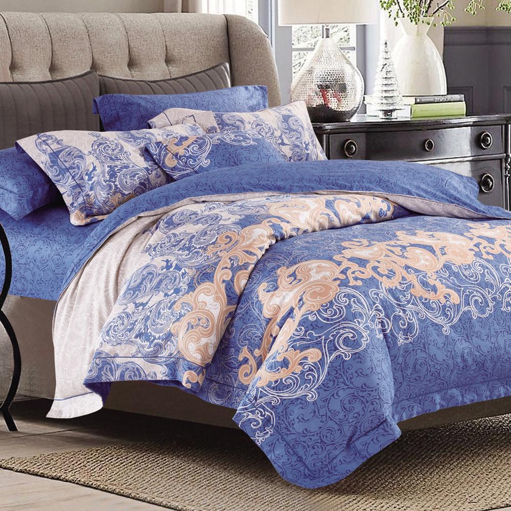 AmoreCasa 復刻回憶 100%棉緞加大兩用被床罩八件組