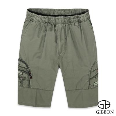 GIBBON 鬆緊純棉休閒工作短褲‧卡其綠M-3XL