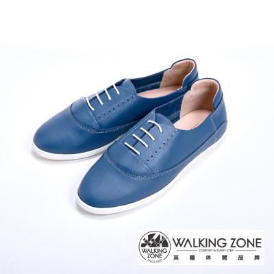 WALKING ZONE 真皮透氣休閒鞋-藍(另有米)