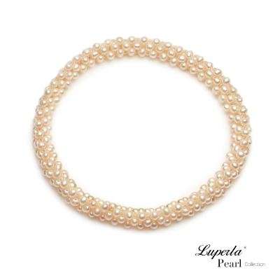 大東山珠寶 天然珍珠手環 櫻粉春色歐美古典編織珠寶