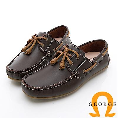 GEORGE 喬治-水洗系列 素面繩結大底休閒鞋 男鞋-咖