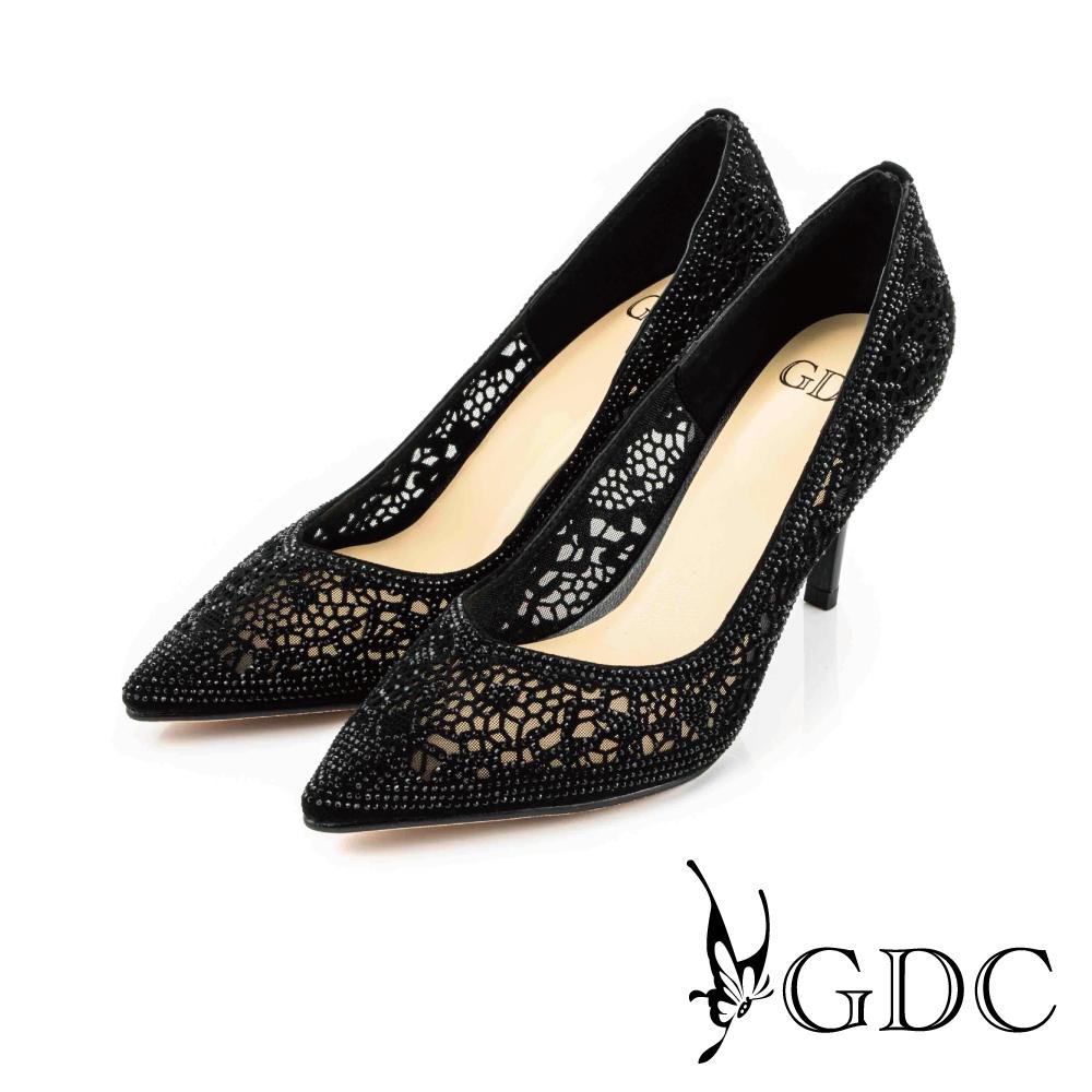 GDC-性感水鑽縷空真皮尖頭細高跟鞋/婚鞋-黑色