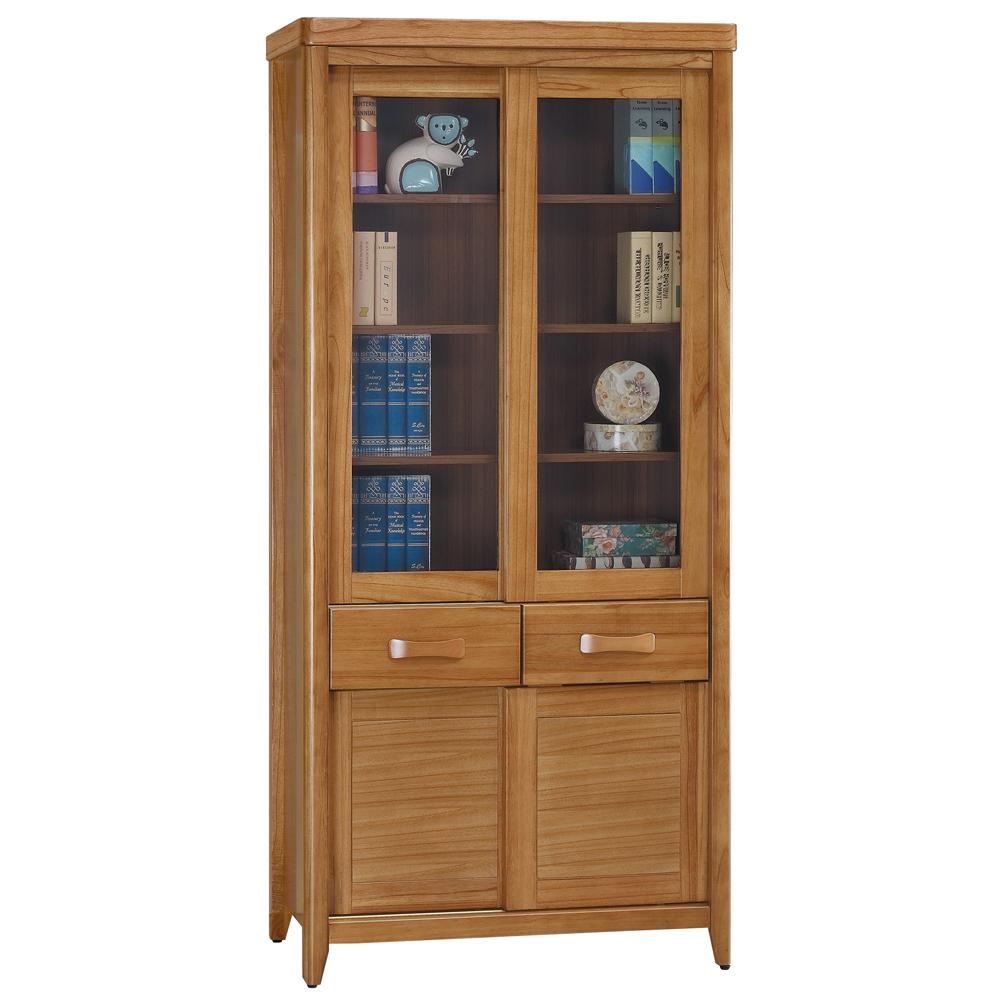 愛比家具 絲莉愛2.7尺柚木實木推門中抽書櫃
