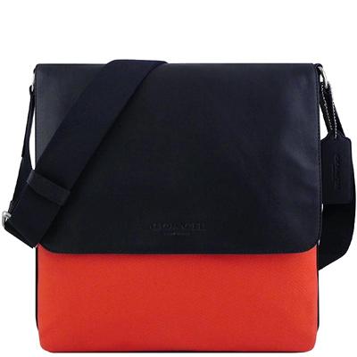 COACH 橘紅色厚織帆布斜背包