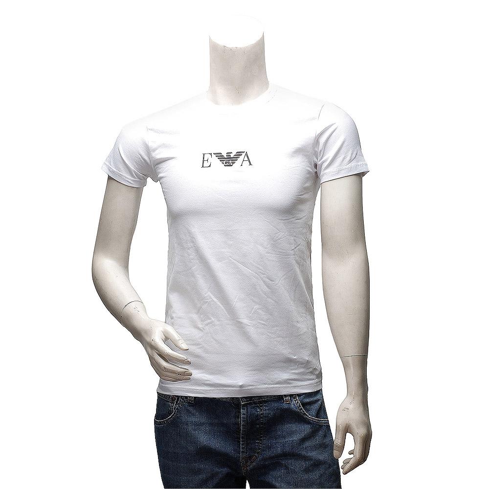 EMPORIO ARMANI 經典款品牌LOGO素色棉質短袖圓領修身T恤(白-S號)