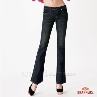 BRAPPERS 女款 彈性白色直線鑲鑽小喇叭褲-深藍