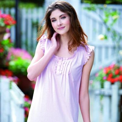 羅絲美睡衣 - 浪漫氛圍甜美蕾絲洋裝睡衣 (嫩紫)