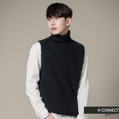 H-CONNECT-韓國品牌-男裝-粗根針織高領背心-藍