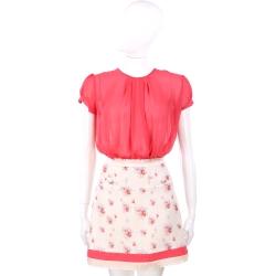 ELISABETTA FRANCHI 紅色雪紡拼接氣球圖案短袖洋裝