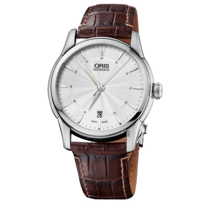 ORIS豪利時 Artelier Date 藝術家機械錶-銀x咖啡/40mm