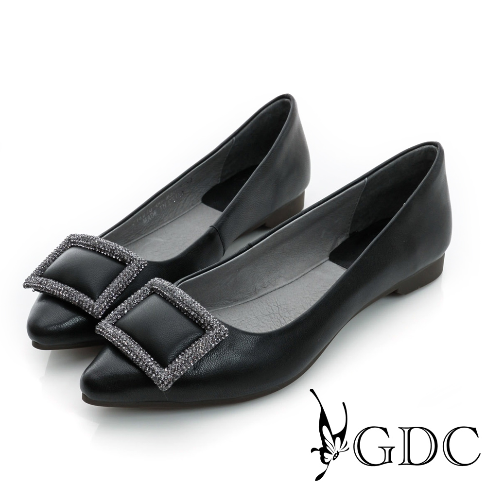 GDC-時尚都會方形水鑽飾扣真皮平底尖頭娃娃鞋-黑色
