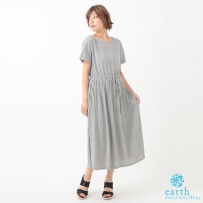 earth music 素面袖反摺腰綁帶百摺洋裝/長裙