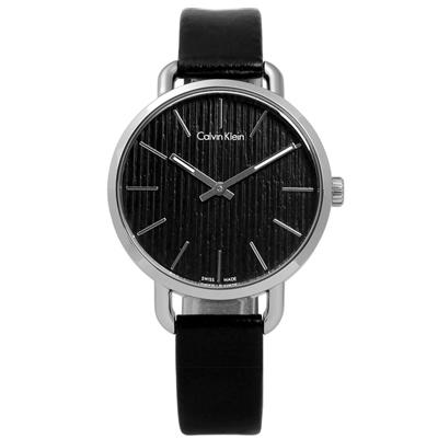 CK EVEN 沉靜雅緻岩紋皮革女錶-黑色/36mm