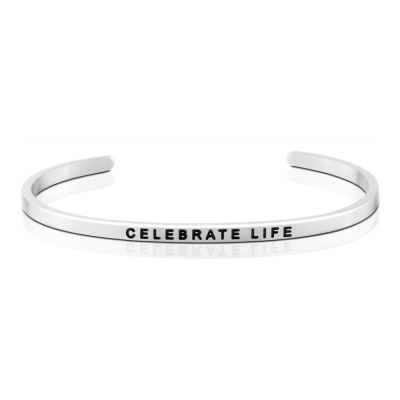 MANTRABAND Celebrate Life 慶祝生命 悄悄話銀色手環