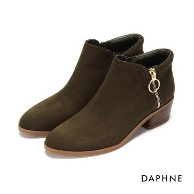 達芙妮DAPHNE 踝靴-絨面尖頭圓環拉鍊中跟踝靴-橄欖綠
