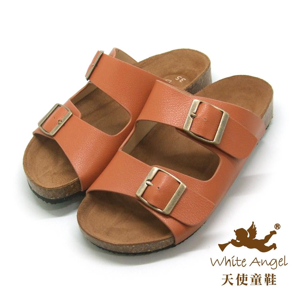 天使童鞋-J838 悠閒馬德里親子拖鞋(超大童)-咖啡