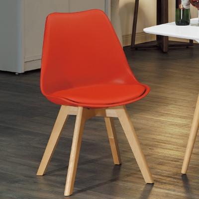 AS-輕巧休閒皮座墊椅-熱情紅-46x43x83cm