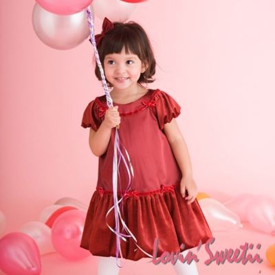 【Lovin' Sweetii】甜心小公主袖童洋裝限量款-紅色