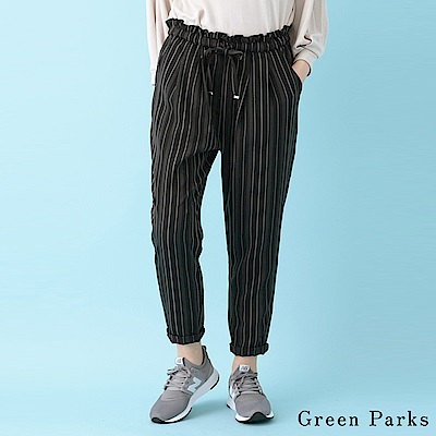 Green Parks 荷葉邊綁帶直條紋/素面寬褲