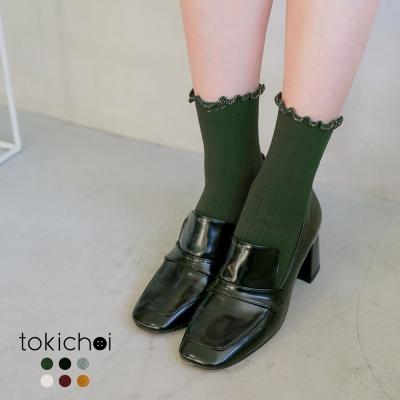 東京著衣 多色金蔥捲邊配色中長襪(共六色)