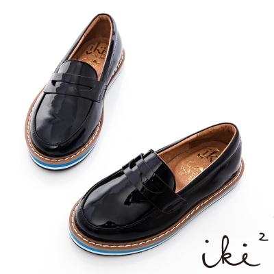 iki2童鞋-厚底拼接真皮牛津鞋-亮面黑