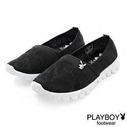 PLAYBOY 悠閒時光 針織超輕量懶人鞋-黑(女)