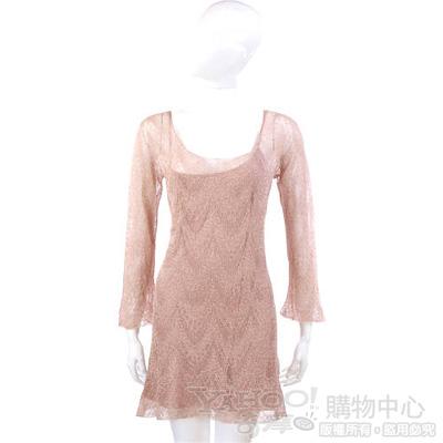 PHILOSOPHY-AF 粉色金蔥蕾絲長袖洋裝
